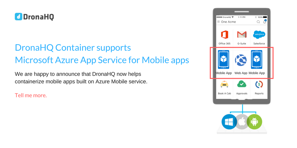 DronaHQ announces support for Azure App Service for Mobile apps