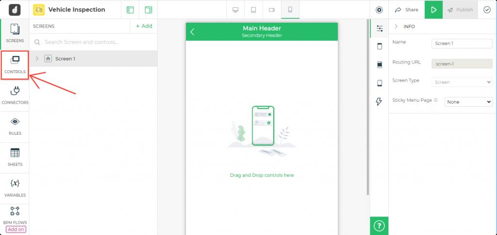 3. Add Controls to blank screen