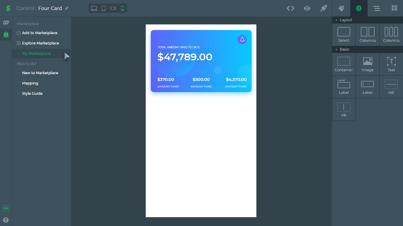 Control designer- No code app development feature