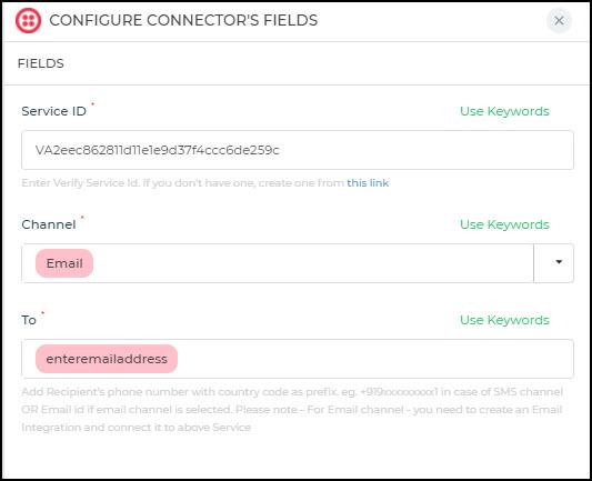 Configure Email verification connector