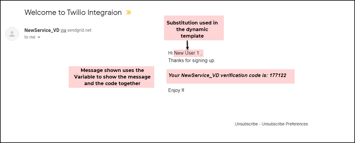 Email verification preview with substitution