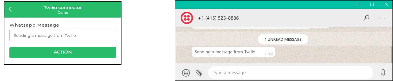 Twilio Whatsapp message