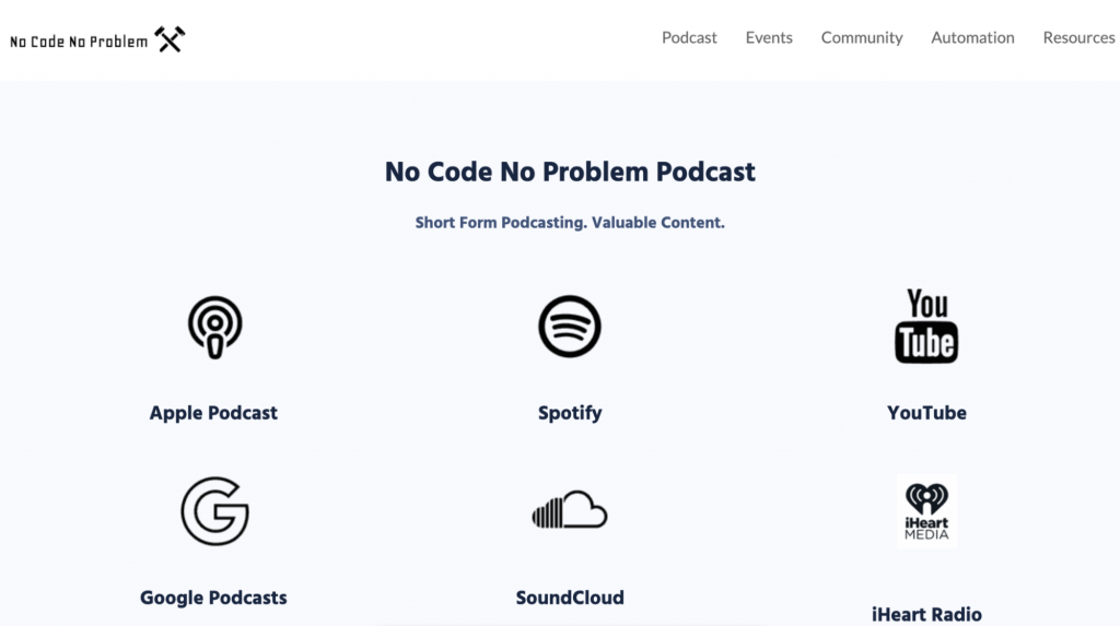 Landing Page of the No Code No Problem Podcast Website