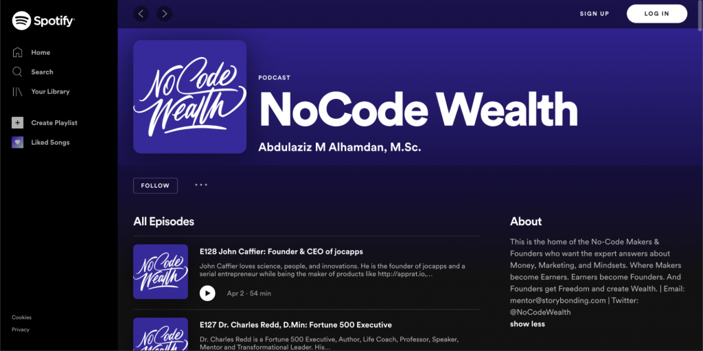 Landing Page of the NoCode Wealth Podcast Spotify