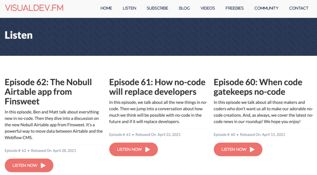 Landing Page of the Visual Developers Podcast Website