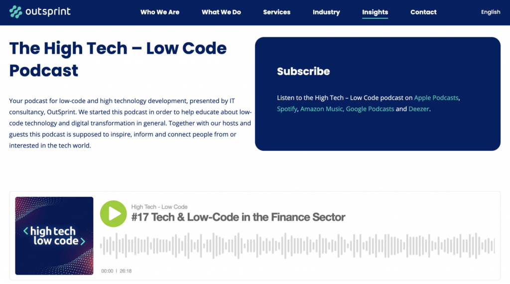 Landing Page of the High Tech Low Code Podcast Website
