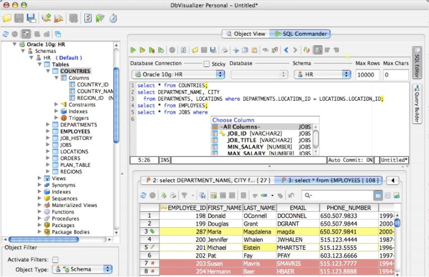 DB Visualizer GUI for SQL